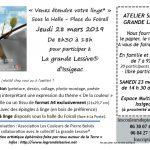 Atelier Spécial «Grande Lessive» – Samedi 23 mars