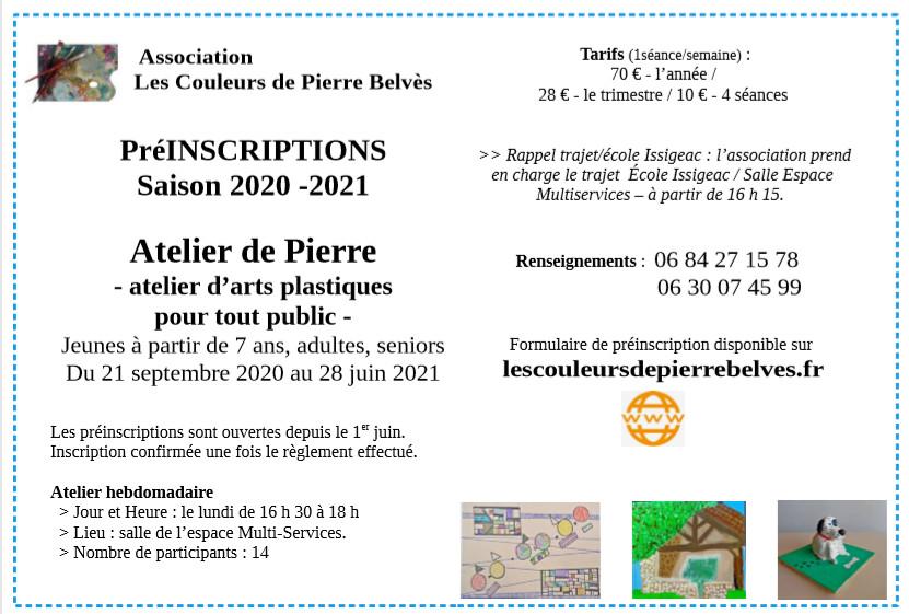 Les Préinscriptions pour l'Atelier de Pierre sont ouvertes